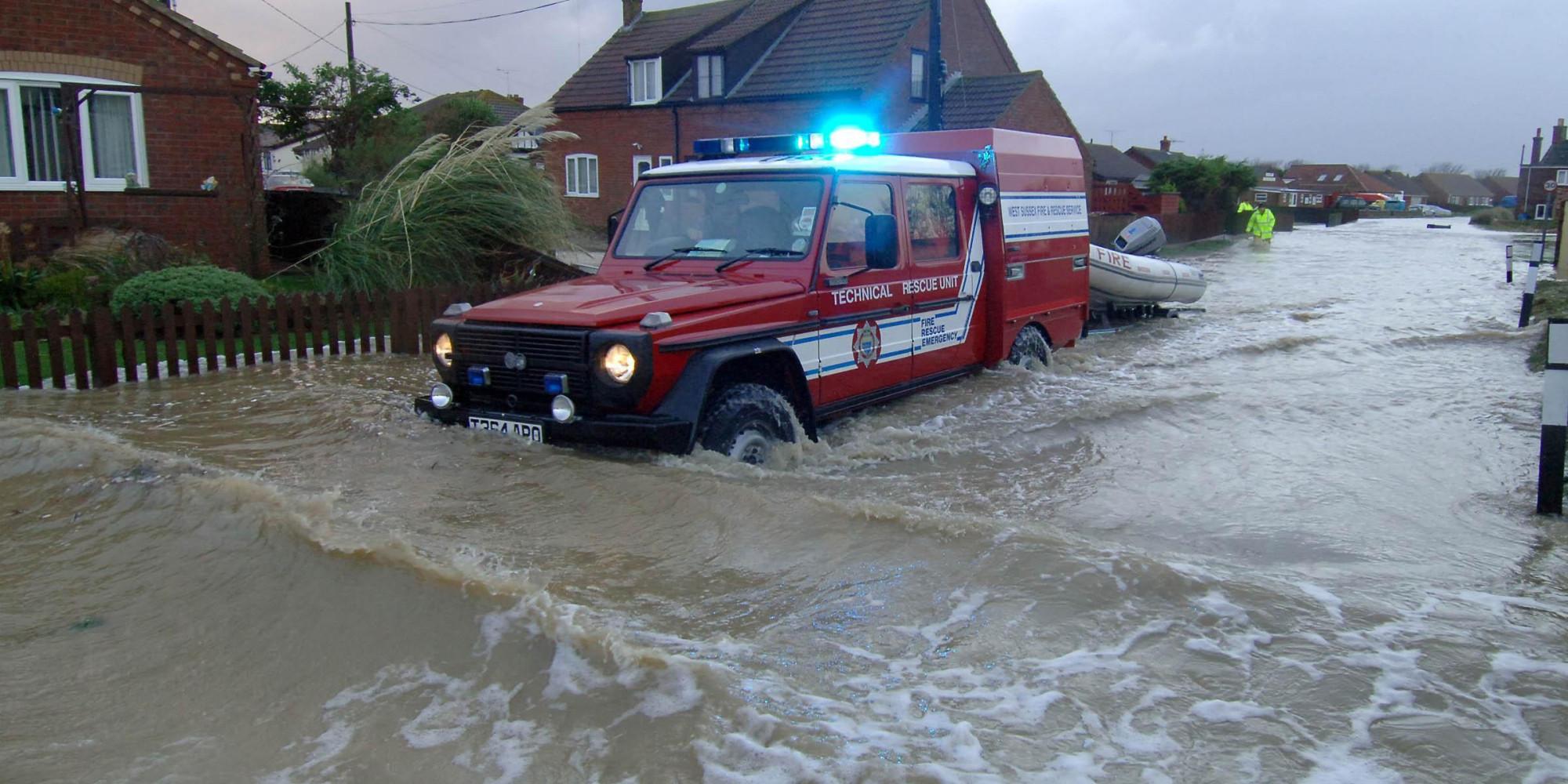 fire truck in flood