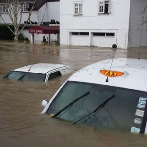 Flooded cars and street