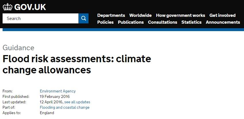 NPPF Flood Risk Climate Change Allowances for Planning