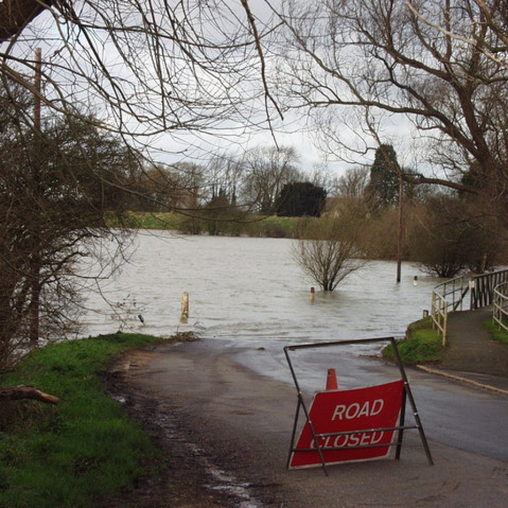 road closed due to flood