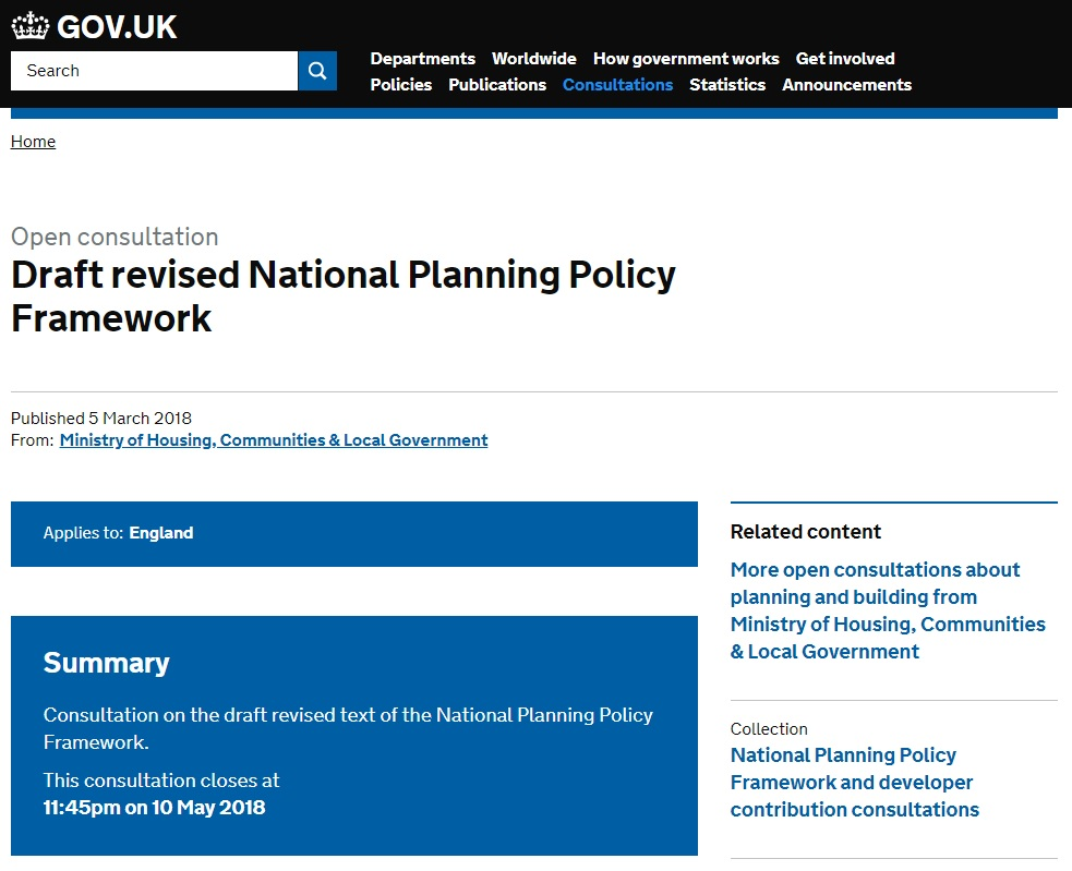 Draft revised NPPF, March 2018 – Flood Risk in Planning